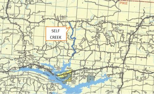 Self Creek Location Map